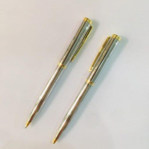 Bút ký tên T6140 - INOX trắng cẩn vàng