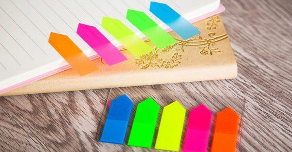 Giấy note 5 màu nhựa Uni-T