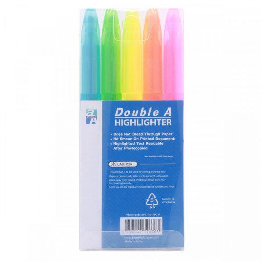 Bút dạ quang Double A màu sáng (vỉ 5 cây)_1 vỉ