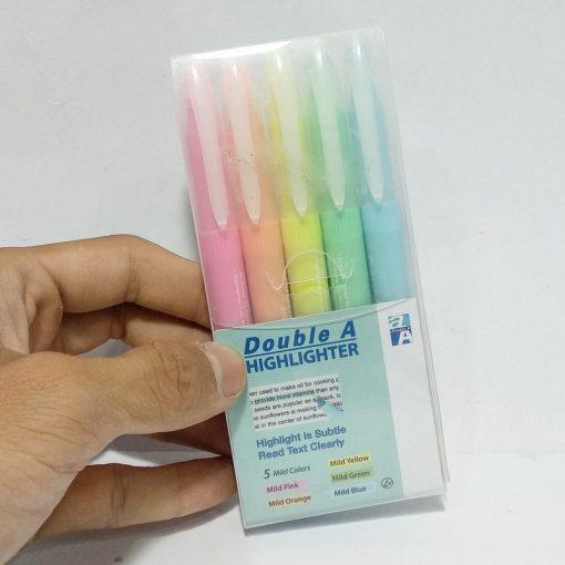 Vỉ 5 cây bút dạ quang Double A màu dịu_đủ màu